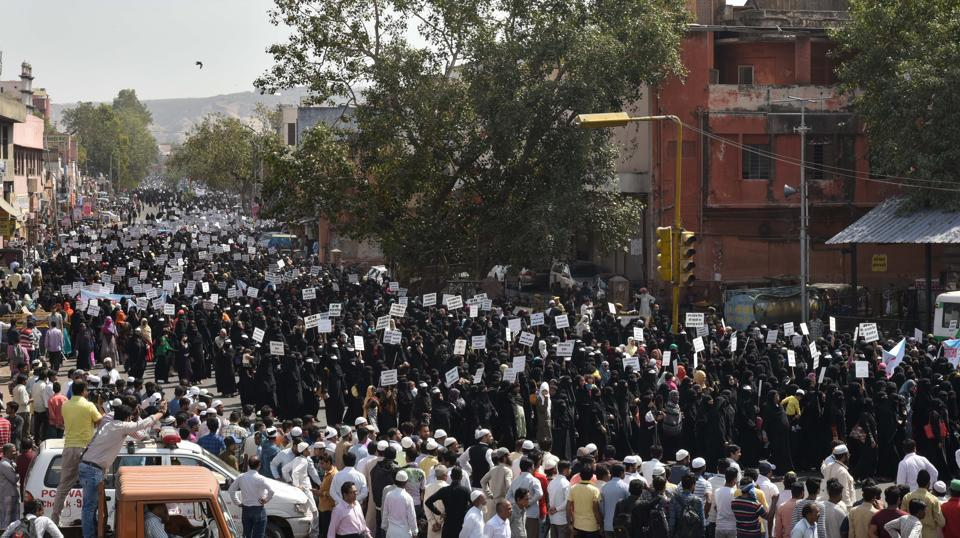 Thousands of women led by the women's wing of the All India Muslim Personal Law Board protest in Jaipur against the triple talaq bill which they say is anti-Sharia and anti-women.