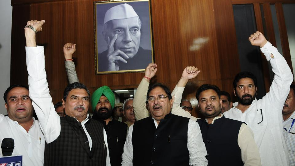Leader of Opposition Abhay Singh Chautala and other INLD legislators raising anti-government slogan on Tuesday.