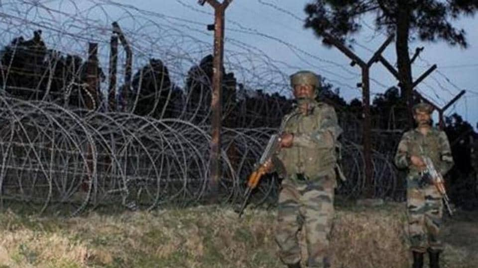 Indian Army jawans patrol at the Line of Control (LOC) in Poonch district of Jammu and Kashmir.