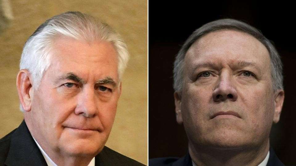 This combination of pictures created on March 13, 2018 shows then US Secretary of State Rex Tillerson (L) on February 15, 2018 and then US Congressman Mike Pompeo, on January 12, 2017. US President Donald Trump ousts top diplomat Rex Tillerson and named Mike Pompeo as he successor at the State Department.