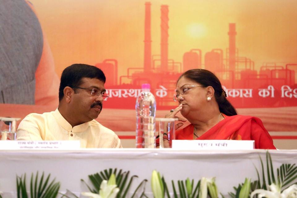 Rajasthan chief minister Vasundhara Raje and Union minister of state for petroleum and natural gas Dharmendra Pradhan at the signing of a memorandum of understanding  to set up  oil refinery  in Barmer's Pachpadra.