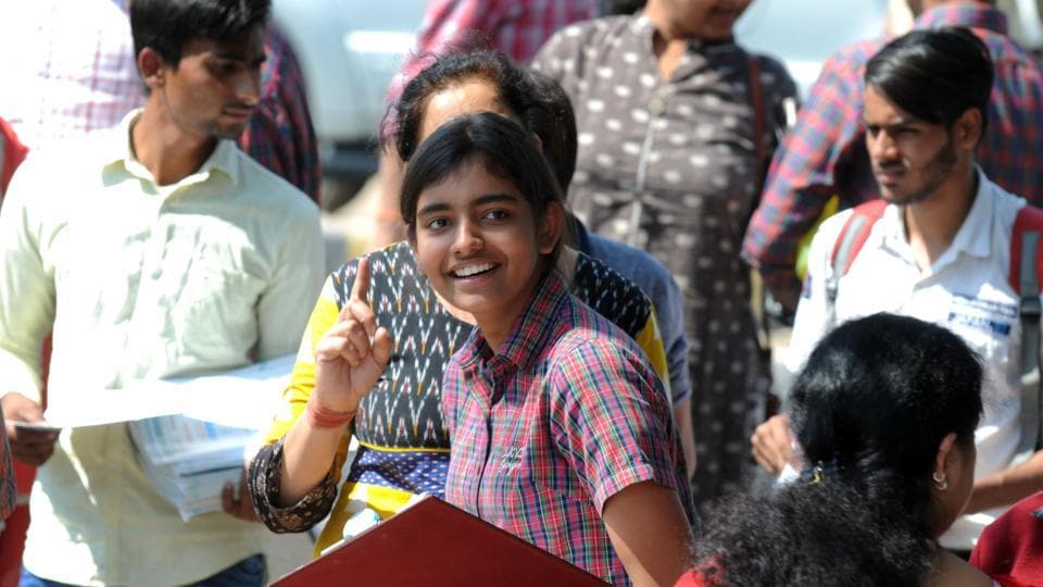 Students of CBSE board Class 10 coming out after appearing in Hindi paper at Kendriya Vidyalaya, Sector-14, in Gurgaon on Monday.