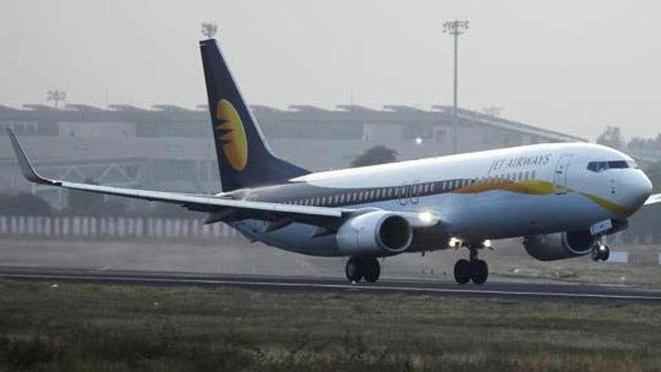 A Jet Airways passenger plane takes off from Sardar Vallabhbhai Patel International Airport in Ahmedabad.