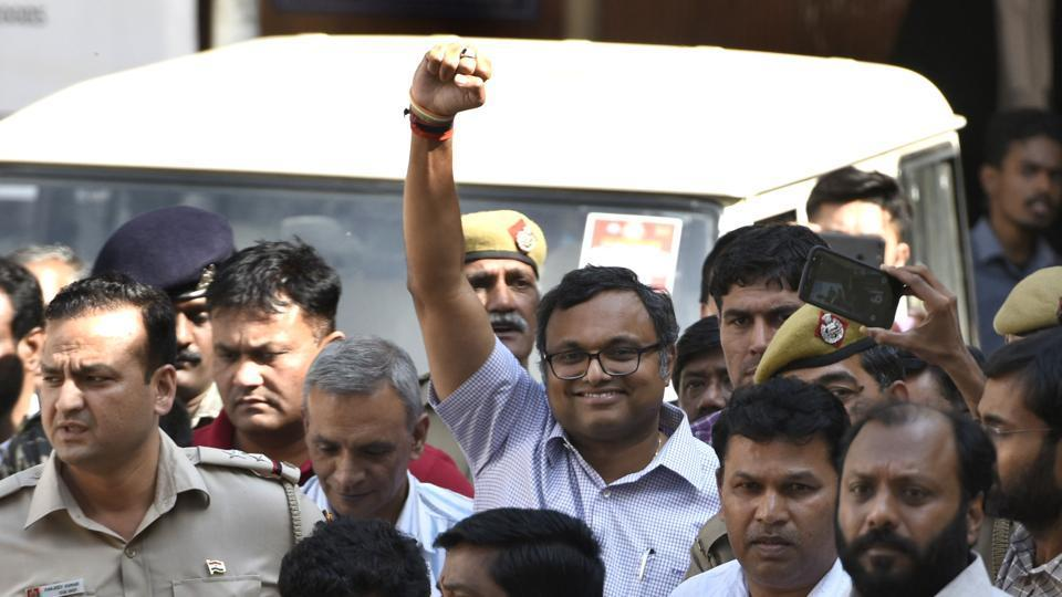 Karti Chidambaram outside the Patiala House Courts in New Delhi, on March 12, 2018.