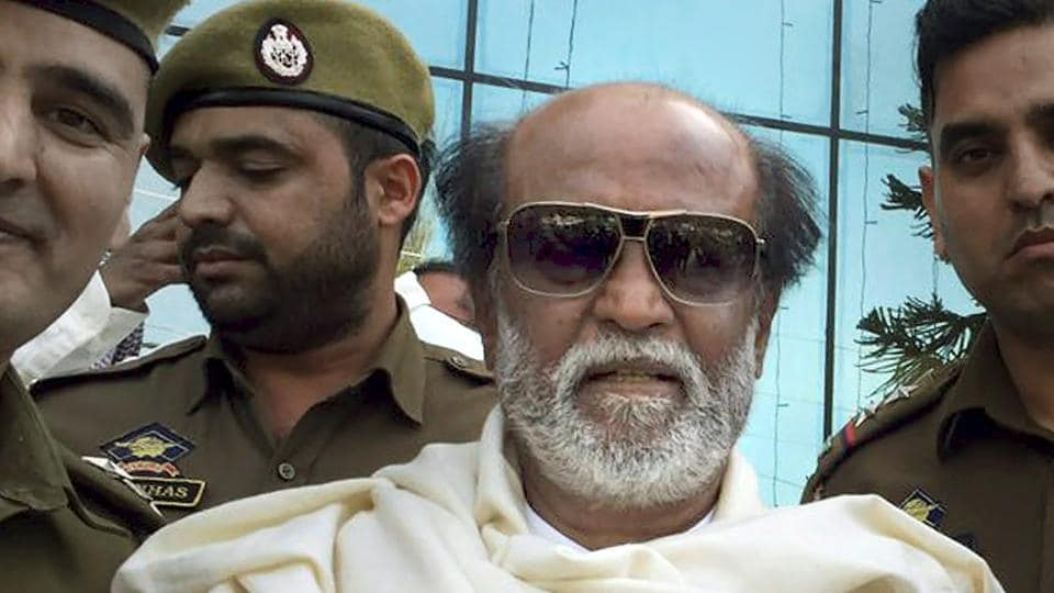 Veteran actor Rajnikant during a visit in Jammu on March 11.