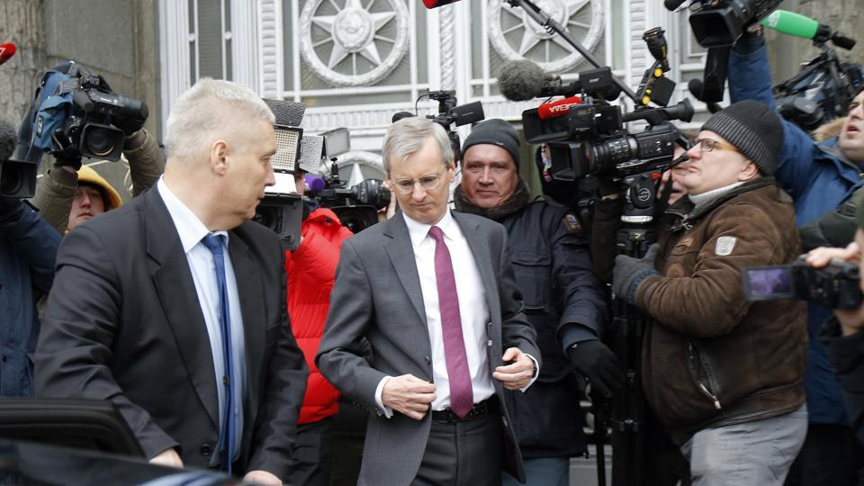 British ambassador to Russia, Laurie Bristow, centre, leaves after a meeting at the Russian foreign ministry in Moscow,Tuesday March 13, 2018.