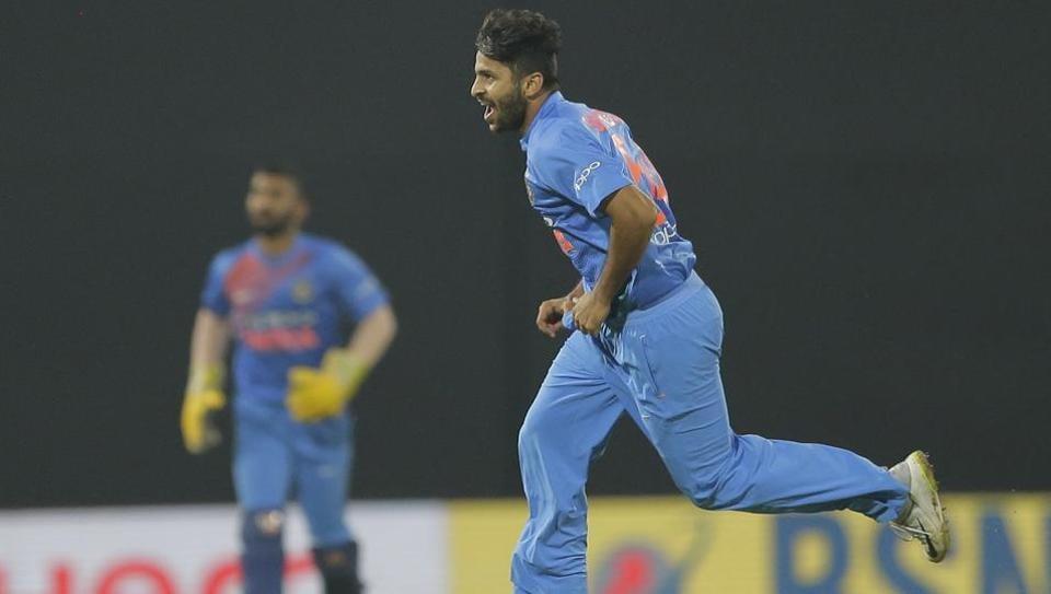India's Shardul Thakur celebrates the dismissal of Sri Lanka's Danushka Gunathilaka during their Twenty20 cricket match in Nidahas triangular series in Colombo, Sri Lanka, Monday, March 12, 2018. (AP Photo/Eranga Jayawardena)