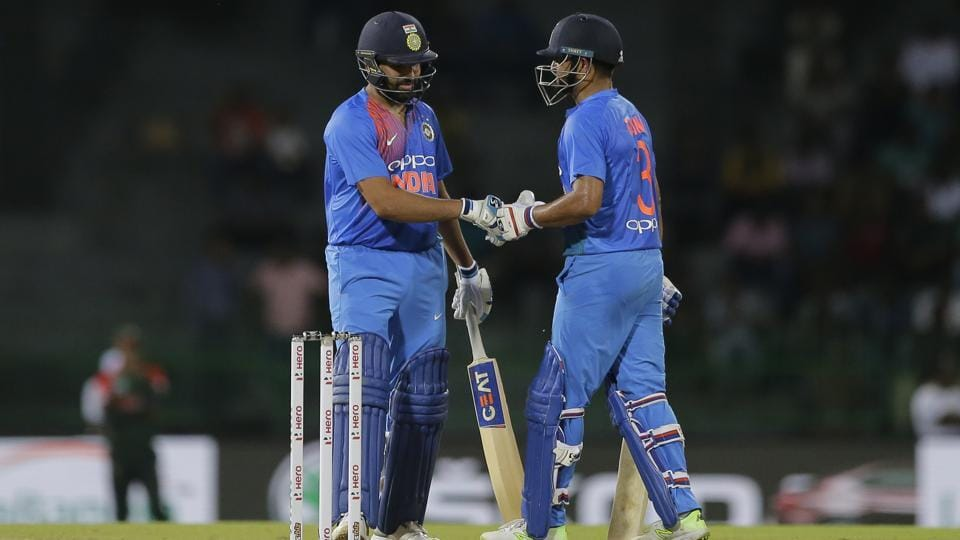 Rohit Sharma and Suresh Raina guided India to a competitive total of 176/3, their highest total of the tournament. (AP)