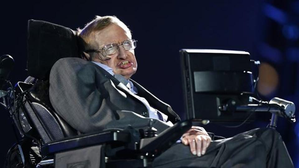 In this file photo, British physicist Stephen Hawking speaks during the Opening Ceremony for the 2012 Paralympics in London, on August 29, 2012.