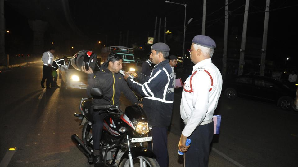 The Gurgaon traffic police has been conducting anti-drink driving campaigns around festival season and using breathalysers to check if motorists were driving under the influence.