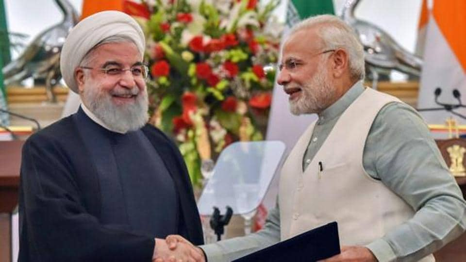 Prime Minister Narendra Modi with Iranian President Hassan Rouhani at the release of a postal stamp commemorating growing economic and trade ties between India and Iran, at Hyderabad House in New Delhi on February 17, 2018.