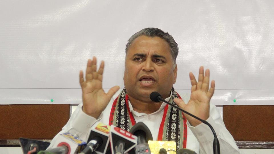 BJP leader Sunil Deodhar at a media interaction on Tuesday.