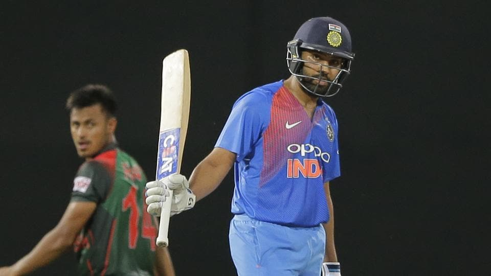 India's Rohit Sharma celebrates scoring fifty runs against Bangladesh during their second Twenty20 cricket match in Nidahas triangular series in Colombo Sri Lanka Wednesday