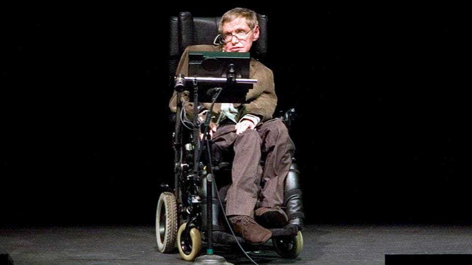 Professor of mathematics at Cambridge University Stephen W Hawking discusses theories on the origin of the universe in a talk in Berkeley, California.