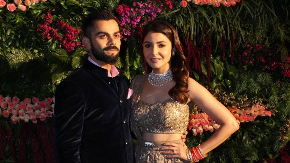 Mumbai: Indian cricket captain Virat Kohli and actress Anushka Sharma during their wedding reception in Mumbai on Dec 26, 2017. (Photo: IANS)