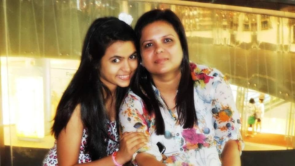 Eighteen-year-old Miloni Parekh with her mother.