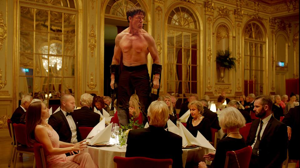 Terry Notary is stunning as a performance artist who goes ape at a fundraising gala.