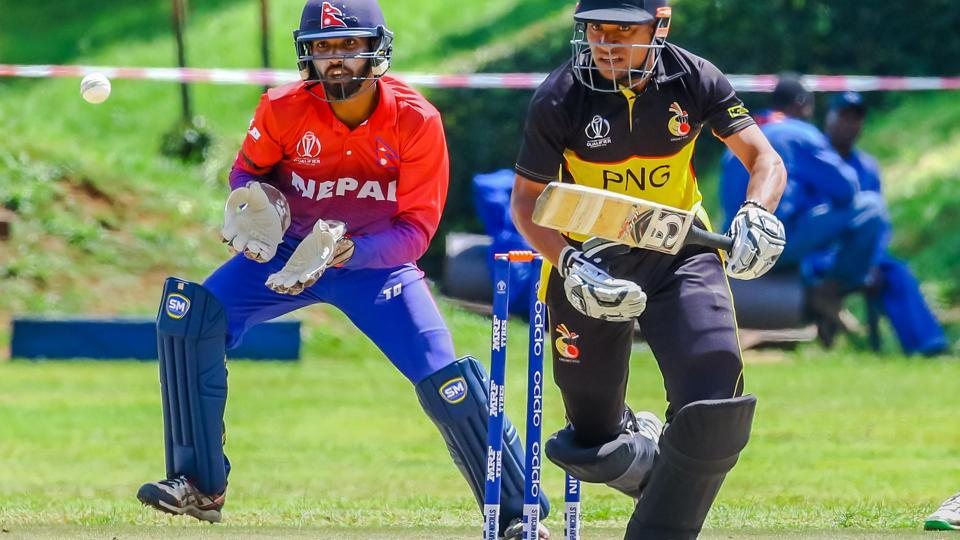 Kipling Doriga of Papua New Guinea in action against Nepal. (ICC)