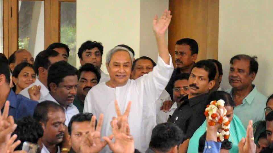 Odisha chief minister Naveen Patnaik greets supporters in Bhubaneswar.