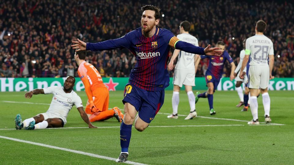 FCBarcelona's Lionel Messi celebrates scoring vs Chelsea FC in the round of 16 UEFAChampions League match at the Camp Nou on March 14. 2018.