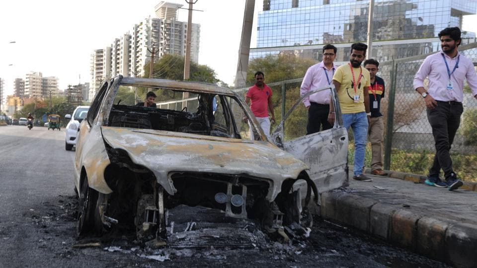 The skeletal structure of Mercedes-Benz C200 which was gutted near DLF-5 on Thursday.