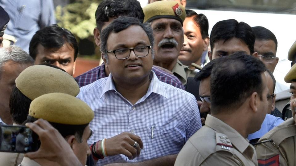 Karti Chidambaram leaves Patiala House Courts in New Delhi on March 12.