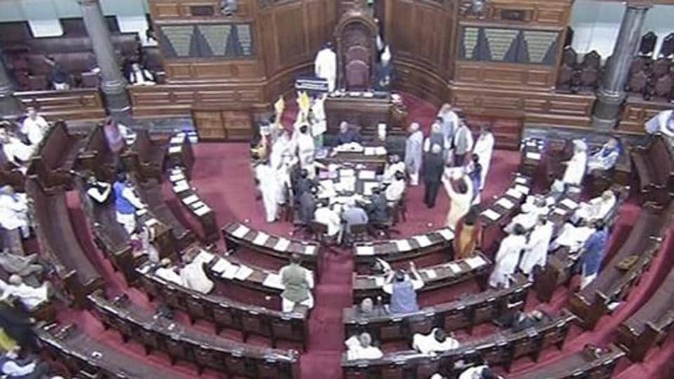 View of the Rajya Sabha in New Delhi.