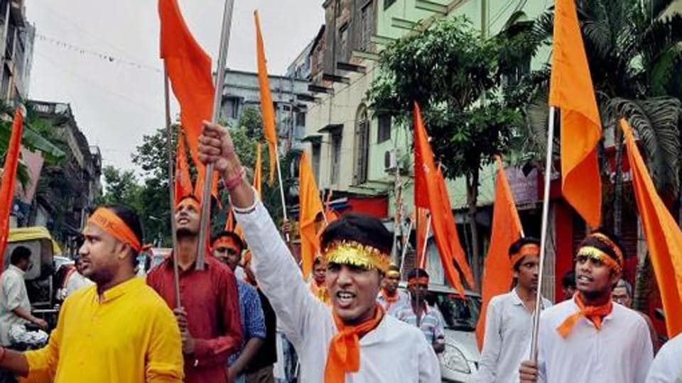People participate in a Ram Navami procession in Kolkata last year. The state BJP leadership sees the Trinamool's decision as an attempt to hijack the programme from the saffron party.