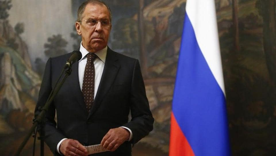 Russian foreign minister Sergei Lavrov attends a news conference in Moscow, Russia on Tuesday.