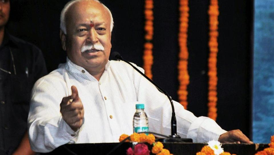 Rashtriya Swayamsevak Sangh (RSS) Chief Mohan Bhagwat  makes an addresses during the 'Sapta Sindhu Jammu Kashmir, Ladakh Mahotsav' at Dr Vasantrao Deshpande Hall in Nagpur on Thursday.