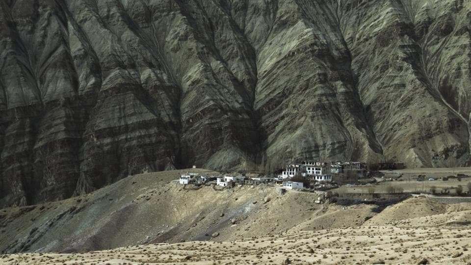 A long view of the Saspochey village in Leh, India. Saspochey village, with a population of 214, is Khalsi sub district's second least populous village. A little ahead of Ulley valley, this is a popular location for spotters of snow leopards.  (Pratik Chorge / HT Photo)