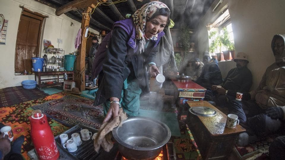An inside view of a Himalayan home stay at Ulley village in Leh. Guests savor local rarities and get familiarized with traditional crafted works, for example, cover weaving. The income generated is utilized by the family to counterbalance the loss of livestock to snow leopards.  (Pratik Chorge / HT Photo)