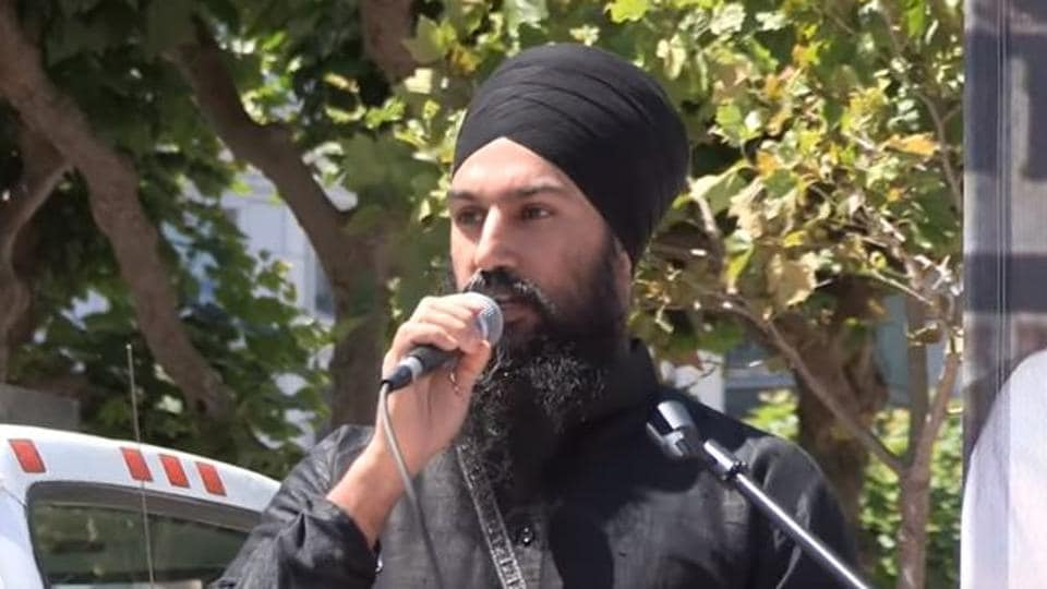 Canada's New Democratic Party leader Jagmeet Singh speaking at a 2015 event in San Francisco. Singh is in the eye of a storm over his appearance at the apparently pro-Khalistan event.