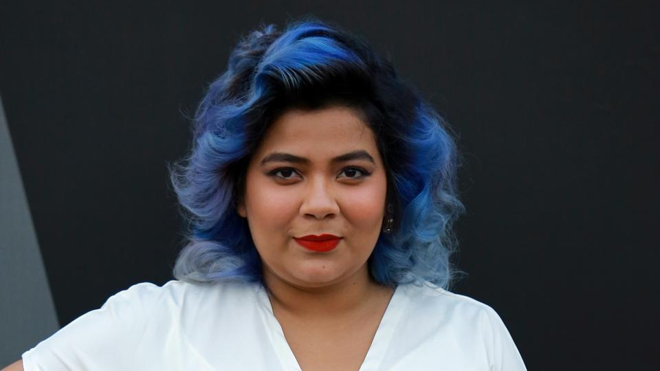 Blogger Neelakshi Singh also sported blue hair at the fashion week.  (Photo: Amal KS/HT)