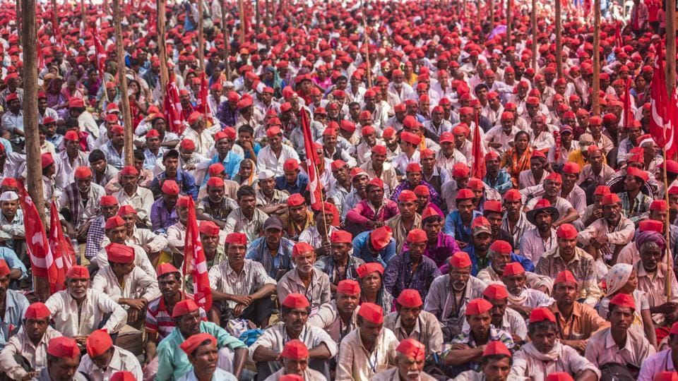 Farmers gathered at Azad Maidan on March 6.