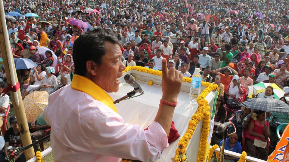 Gorkha Janmukti Morcha chief Bimal Gurung addresses an election rally at Sukna near Siliguri. The Supreme Court on Friday dismissed former GJM leader Bimal Gurung's plea seeking protection from arrest in several cases lodged against him in West Bengal and for an independent probe into the alleged killings of Gorkhaland supporters in the state. The GJM leader had claimed that he was being politically persecuted. (Bikram Sashanker / HT File)