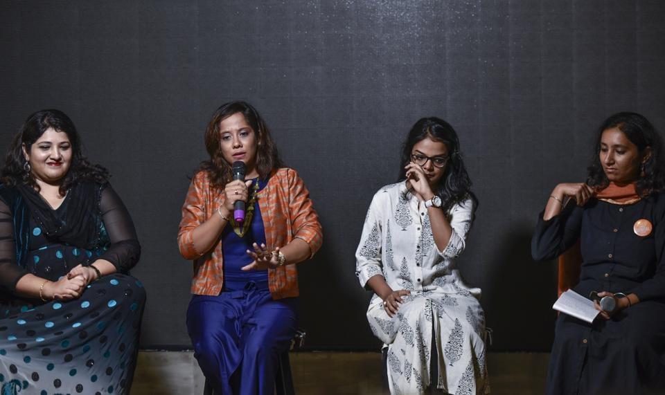 (From left)Insiya, Samina, Fatema, and Aarefa address the audience on Friday.