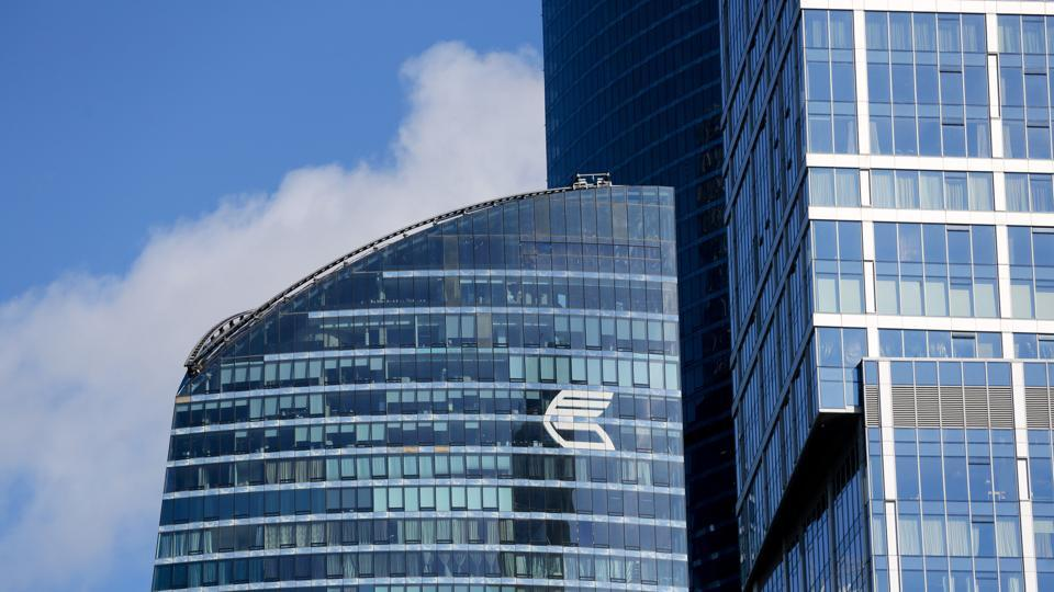 A logo sits on display outside the office tower of VTB Bank in the Moscow International Business Center (MIBC).