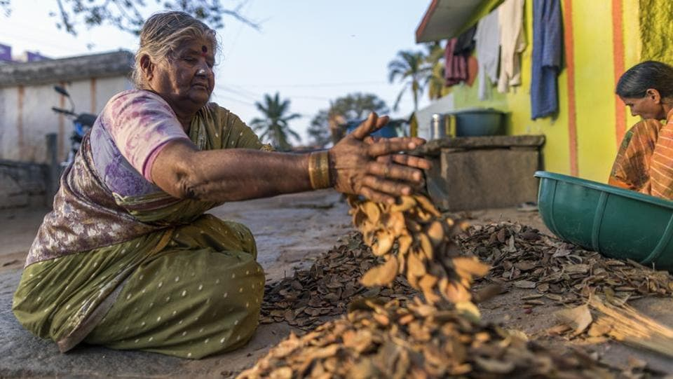 Women sort nuts outside their home in Kuragunda in Karnataka on March 08, 2018. Hit by criticism that he'd neglected his rural base and after his party's worst electoral showing in two decades in Gujarat, Modi has pledged to double farmers' incomes by 2022, raise the support prices on additional crops and spend more on irrigation and infrastructure in rural areas. (Prashanth Vishwanathan / Bloomberg)