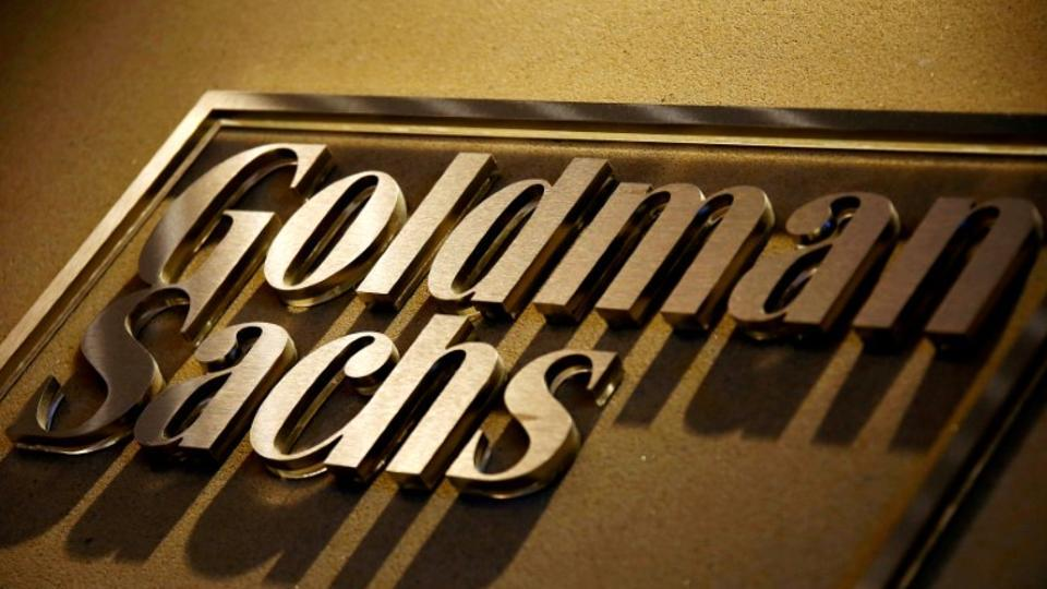 A sign is displayed in the reception of the Sydney offices of Goldman Sachs.