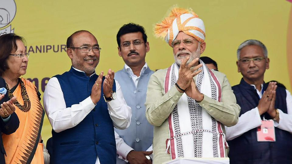 Prime Minister Narendra Modi during the launch of development projects in Imphal on Friday.