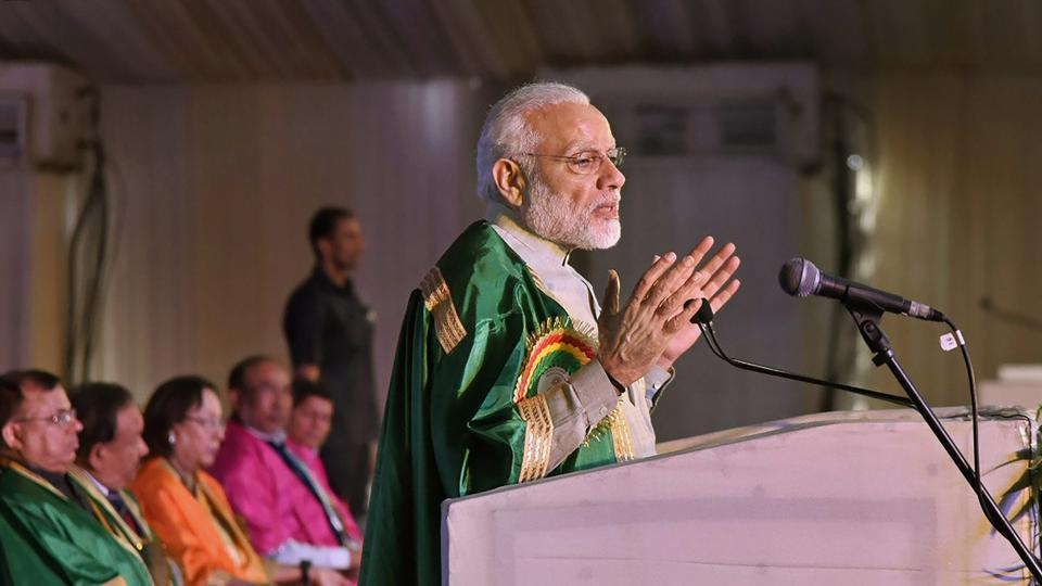 Prime Minister Narendra Modi delivers the inaugural address at the 105th session of Indian Science Congress at Manipur University in Imphal on Friday.