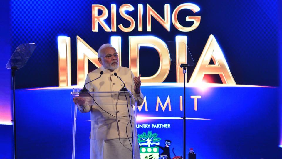 Prime Minister Narendra Modi at India Rising Summit in New Delhi on Friday, March 16, 2018.