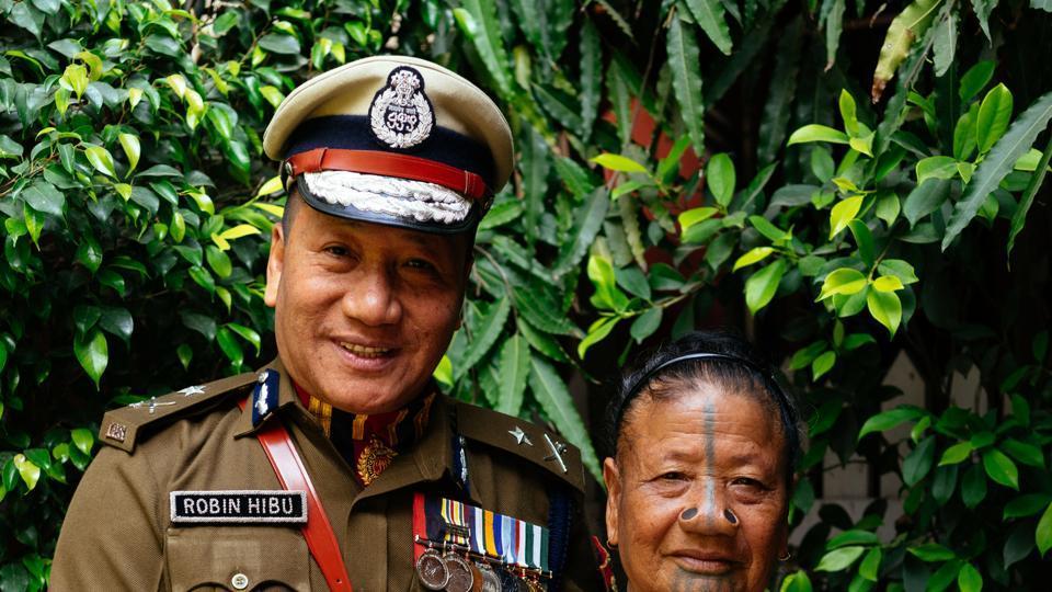 Hibu Yasing with her son Robin Hibu, Joint Commissioner of Police, Rastrapati Bhavan.