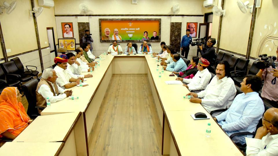BJP national joint general secretary and state in-charge V Satish along with organisation secretary Chandra Shekhar and BJP state president Ashok Parnami ciar the meeting of the Rajasthan ministers at party office on Friday.