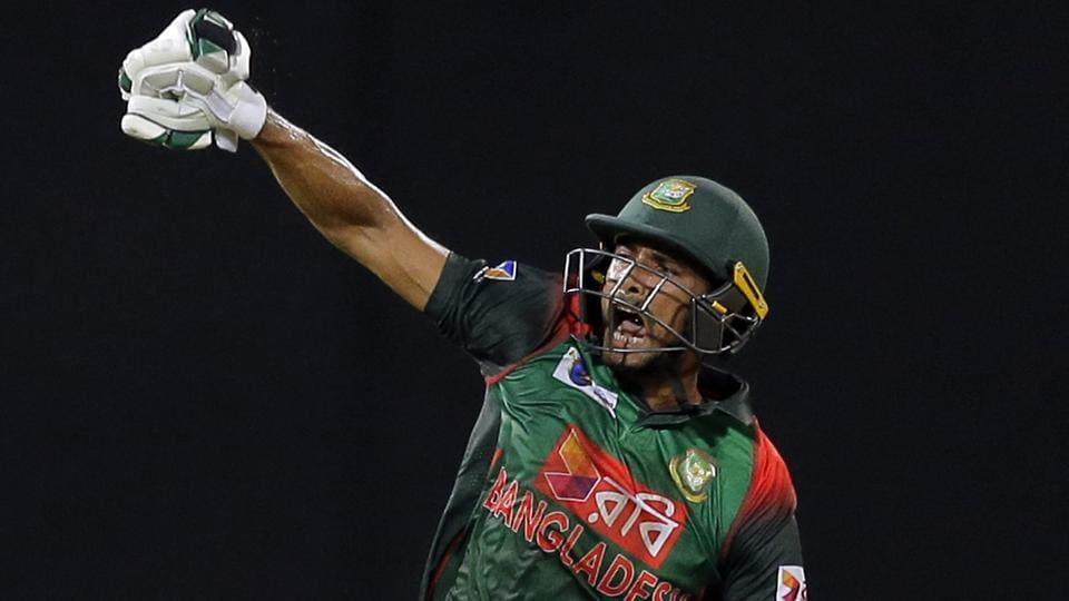 Bangladesh's Mahmudullah reacts after scoring the winning run to defeat Sri Lanka by 2 wickets during their Nidahas Trophy encounter. (AP)