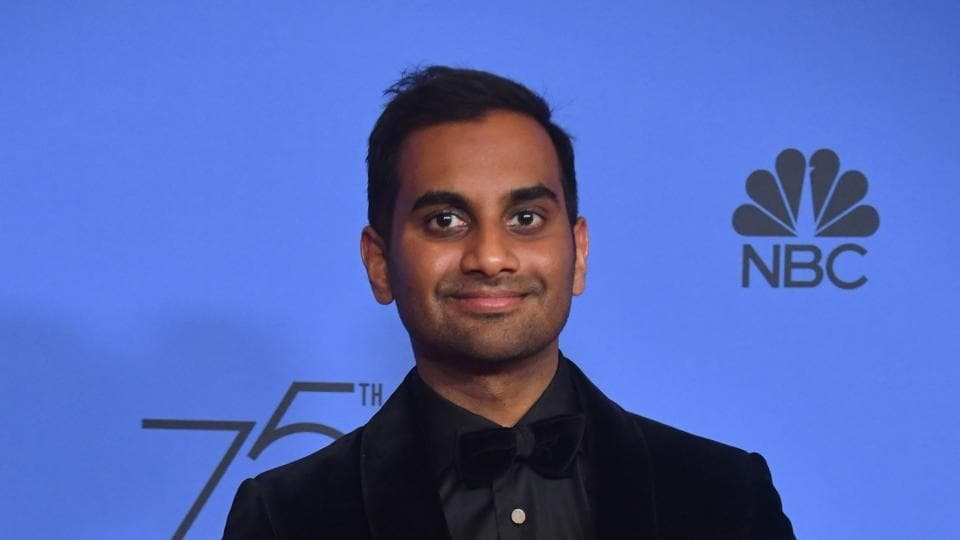 In this photo taken on January 7, 2018, Aziz Ansari poses with the trophy for Best Performance by an Actor in a Television Series - Musical or Comedy during the 75th Golden Globe Awards in Beverly Hills, California.