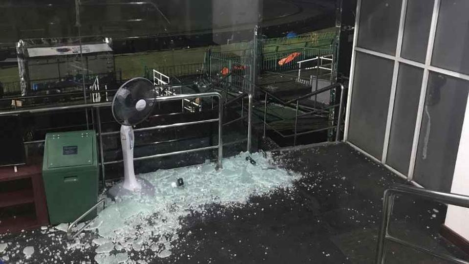 Broken glass panels in the Bangladesh dressing room after Bangladesh cricket team's T20 match against Sri Lanka cricket team  in Nidahas Trophy on Friday.