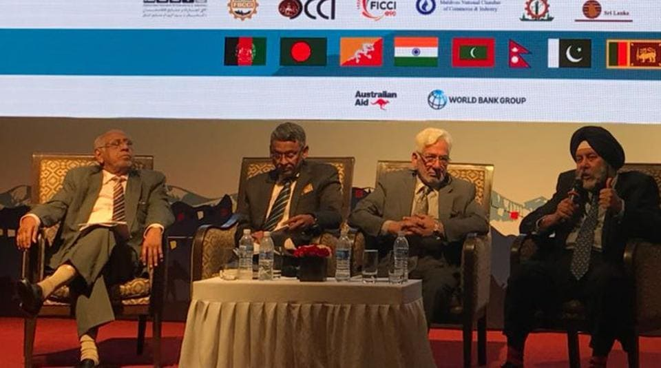 India's Ambassador to Nepal Manjeev Singh Puri participates in the inaugural panel discussion on 'Unleashing South Asia: A Mantra for Shared Economic Prosperity' of the 6th SAARC Business Leaders Conclave being held in Kathmandu, on Saturday.