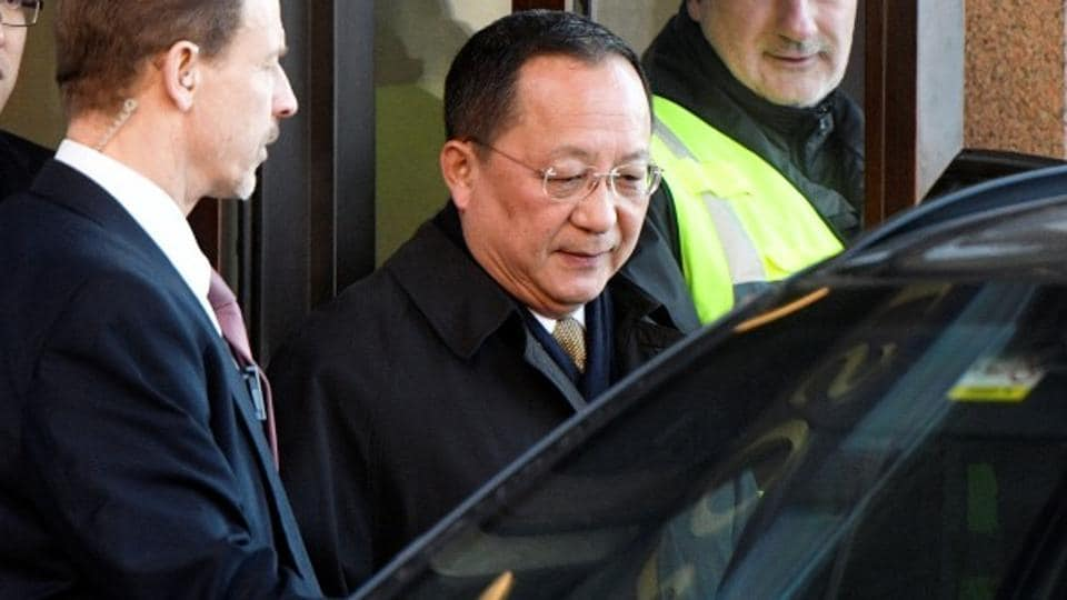 North Korean foreign minister Ri Yong Ho leaves the Swedish government building Rosenbad in Stockholm, Sweden, on March 16.